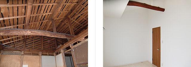 梁を見せて、天井を高くする工夫