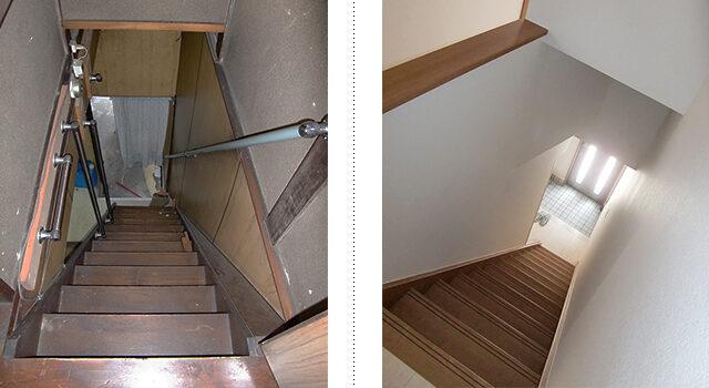 明るく圧迫感のない階段スペースに