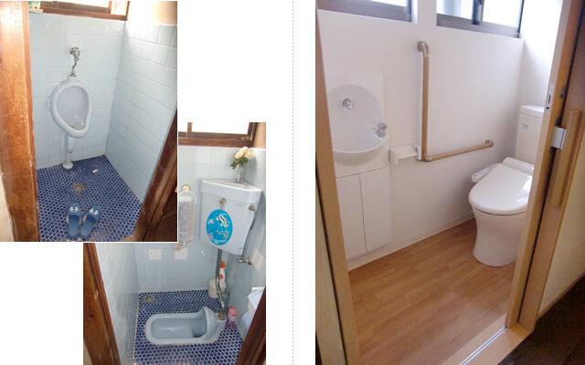 段差がない安全なトイレに。