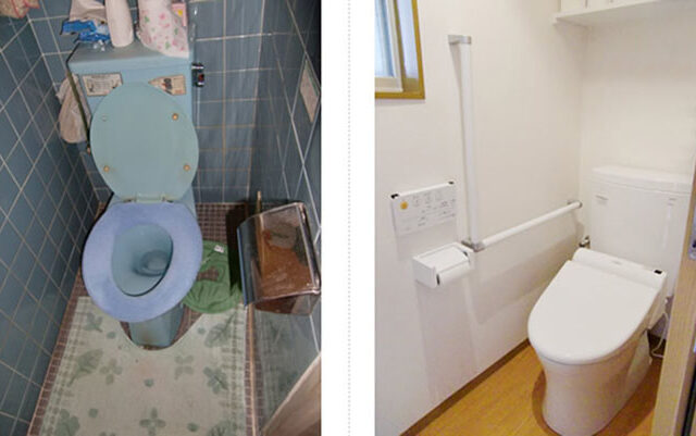 タイル貼りの冷たいトイレをリフォーム。