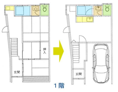 駐車場を完備した新しい家に