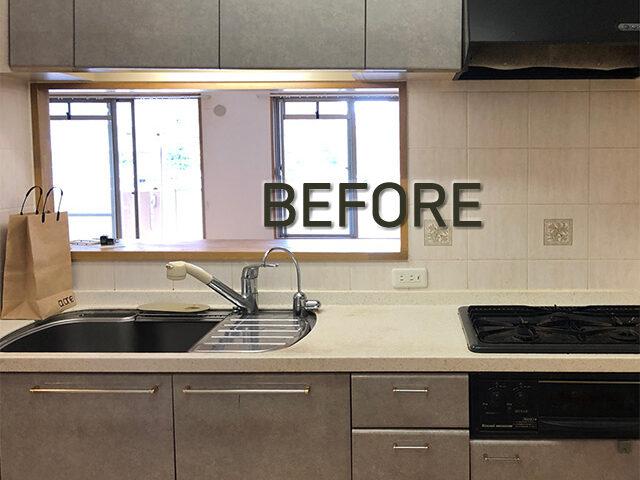 タイル壁をキッチンパネルへ。掃除のしやすい新しいキッチンになりました。